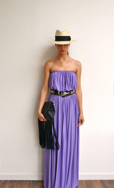 Maxi robe longue bustier violette lilas tendance bohème