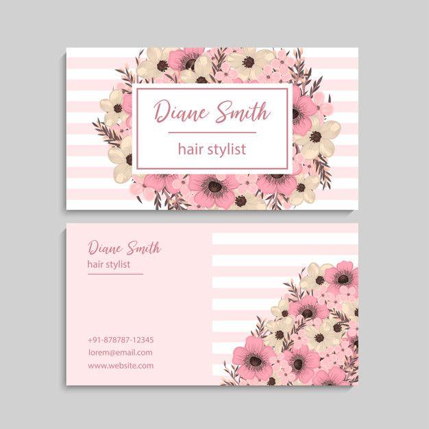 Baixe Cartao De Visita Com Lindas Flores Modelo Gratuitamente Floral Business Cards Makeup Business Cards Business Card Inspiration
