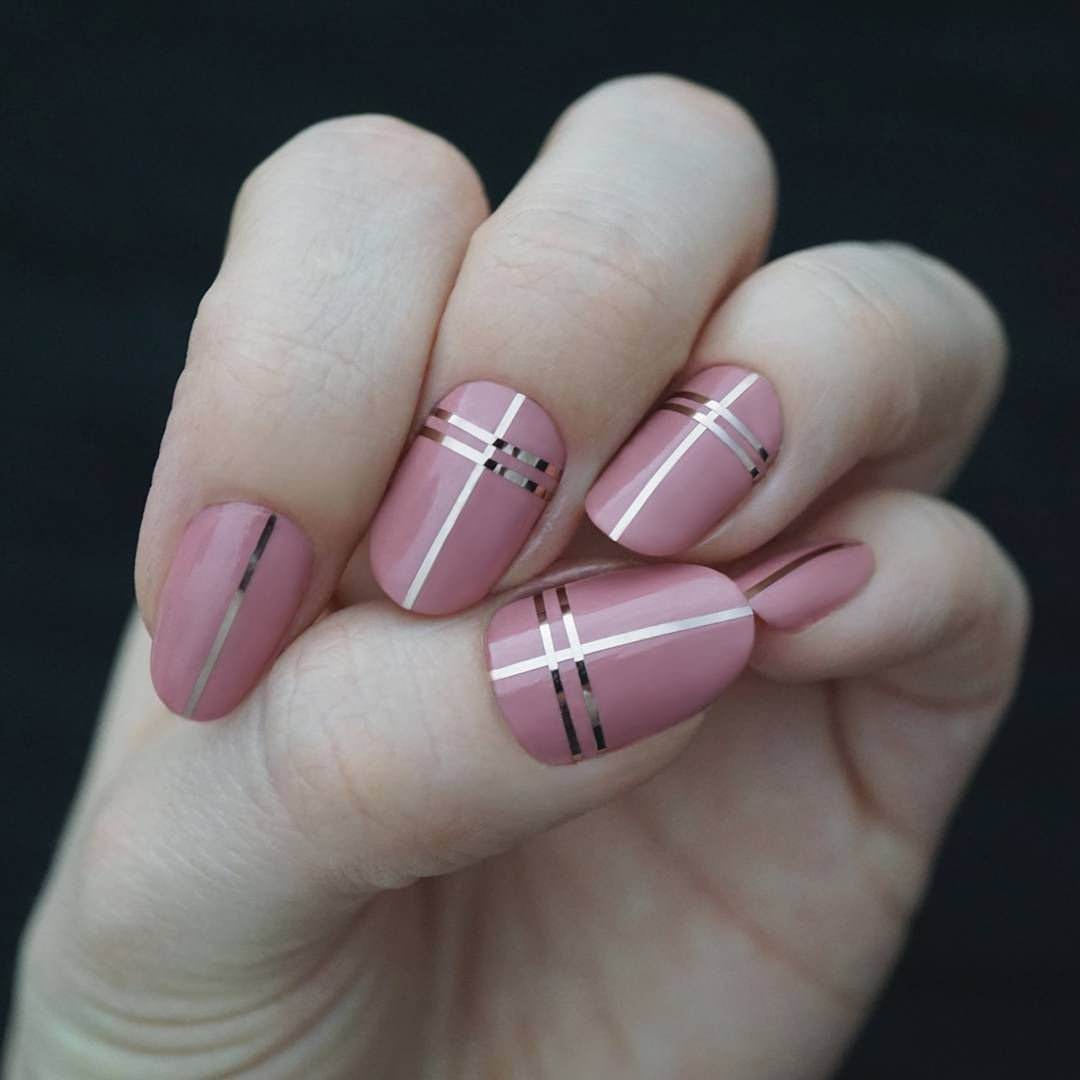 Pretty rose / dirty pink nail polish with rose gold tape | Nail art ...