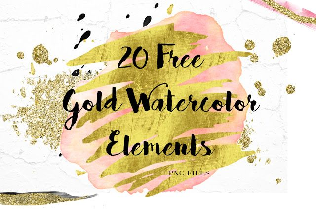 20 Free Gold Watercolor Elements Gold Watercolor Free Graphic