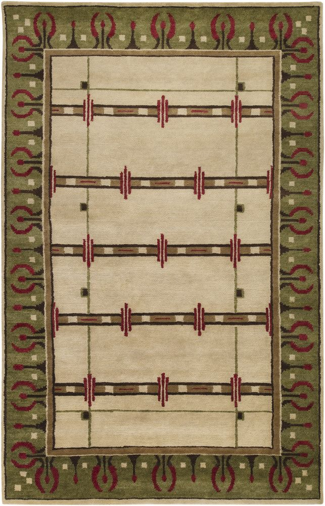 Rugstudio Presents Surya Arts And Crafts Atc 1006 Hand Knotted Good Quality Area Rug Craftsman Rugs Wool Area Rugs Area Rugs