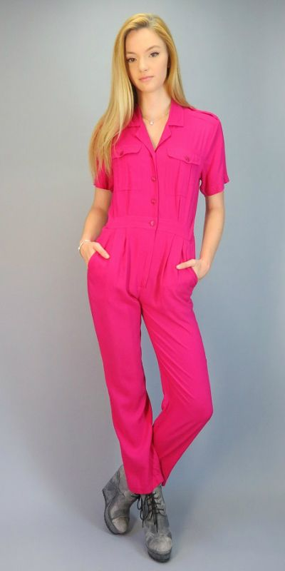 84315b407b7d Vintage 80s Jumpsuit Hot Pink One Piece Outfit Pantsuit Utility Romper  Onesie 90s Short Sleeve Tapered Leg Pants Bright Hipster Indie Rayon by ...
