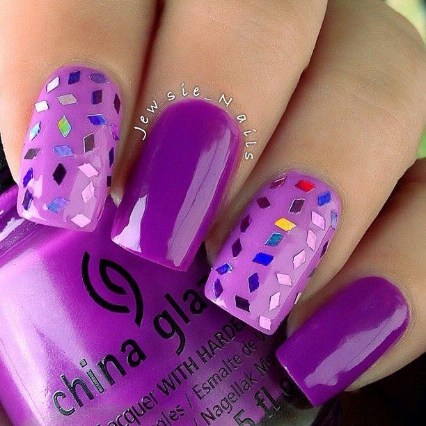 Purple nails | Purple acrylic nails, Simple nail art ...