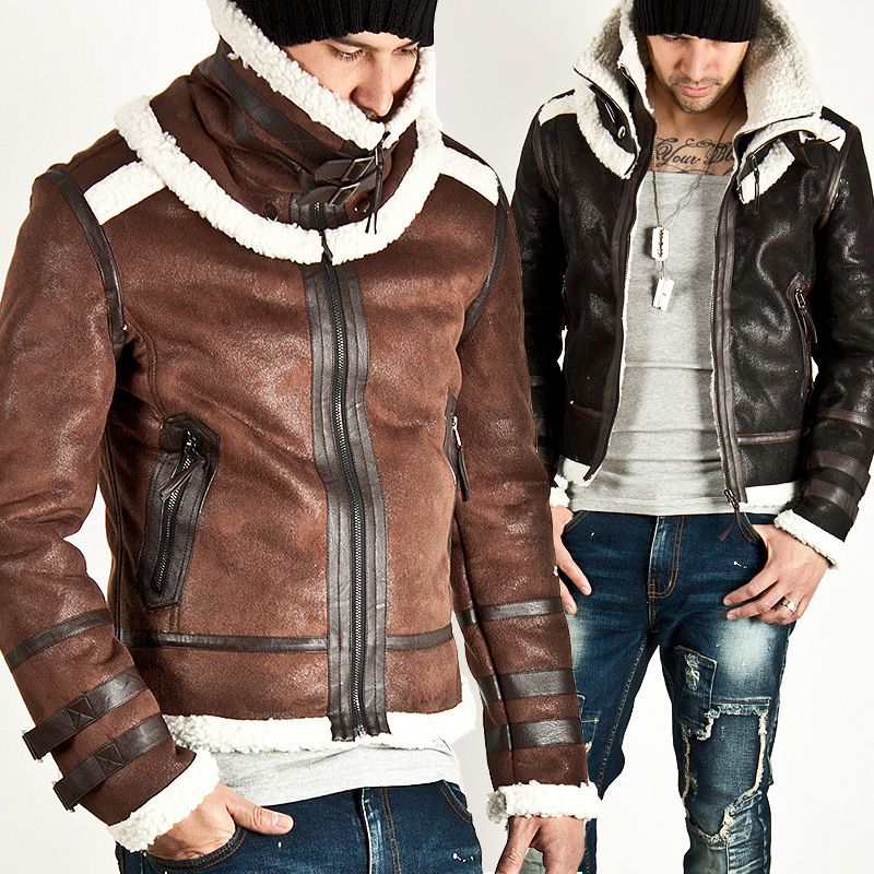 LAMB WOOL LINING CRACK LEATHER DOUBLE FACE JACKET - 42 | Looks and ...