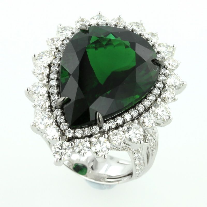 Crome Tourmaline ring in 18k white gold with diamonds.....Kat Florence
