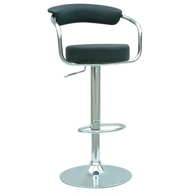 Chintaly Adjustable Height Swivel Bar Stool Upholstery: Black