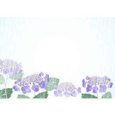 あじさいと雨の背景無料イラスト/梅雨