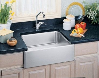 Installed Stainless Steel Farm Sink Elkay Eluhf2520 With Images