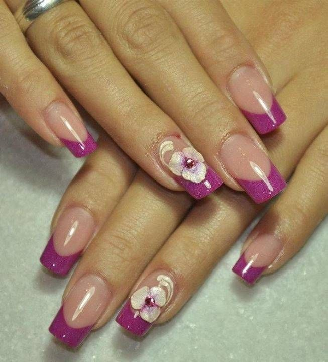 purple with white flower nail design, beautiful nail design ...
