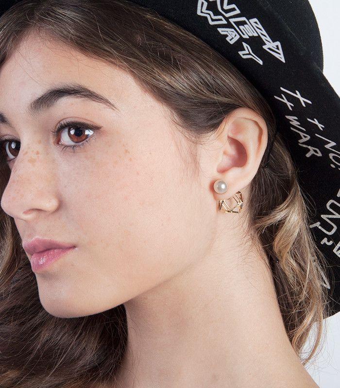 Geometric Pearl Double End Stud Earrings – Show Poni