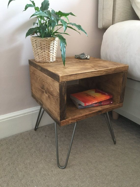 Rustic Wooden Bedside Table Night Stand Made From Reclaimed Scaffold Boards Steel Hairpin Legs Urban