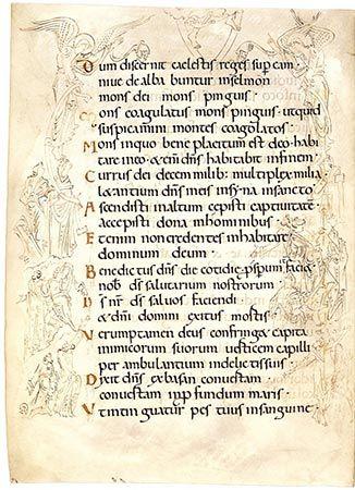 Psalm 67 with the Ascension From the Bury Saint Edmunds Psalter Canterbury or Bury Saint Edmunds, England, mid-11th century Biblioteca Apostolica Vaticana, Vatican City, MS Reg. Lat. 12