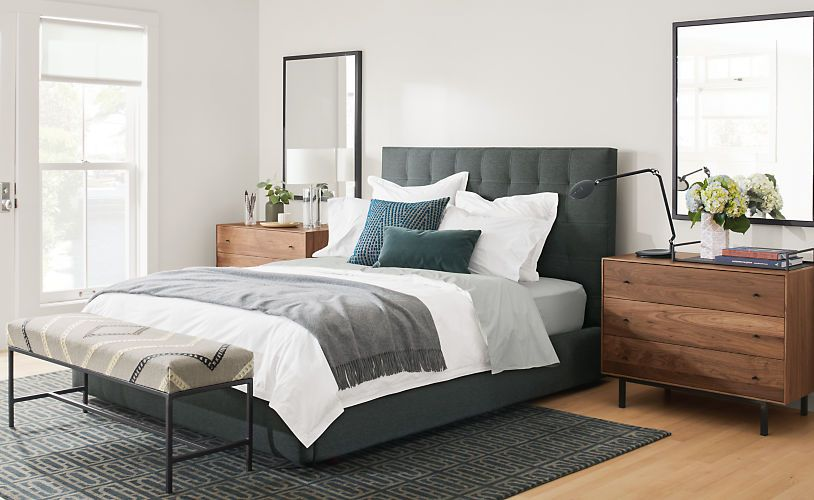 Percale Top-stitch Duvet Cover  Shams Bed platform, Modern