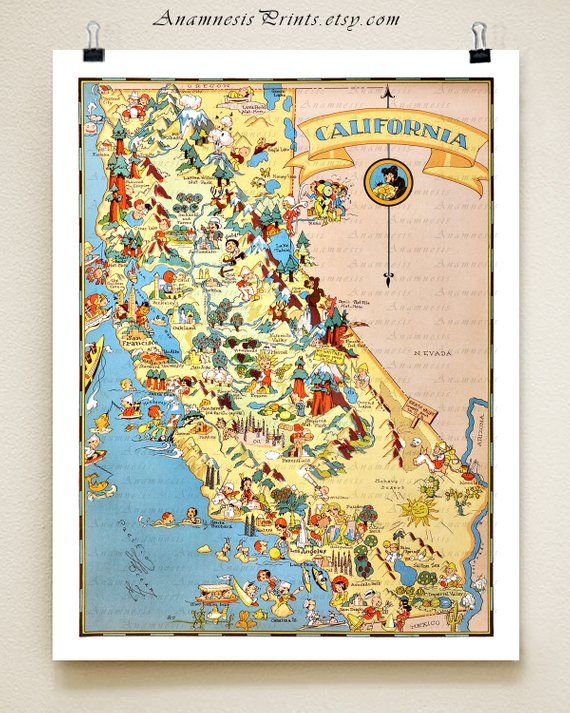 California Map Print Picture Map Illustrated Map Map Drawing