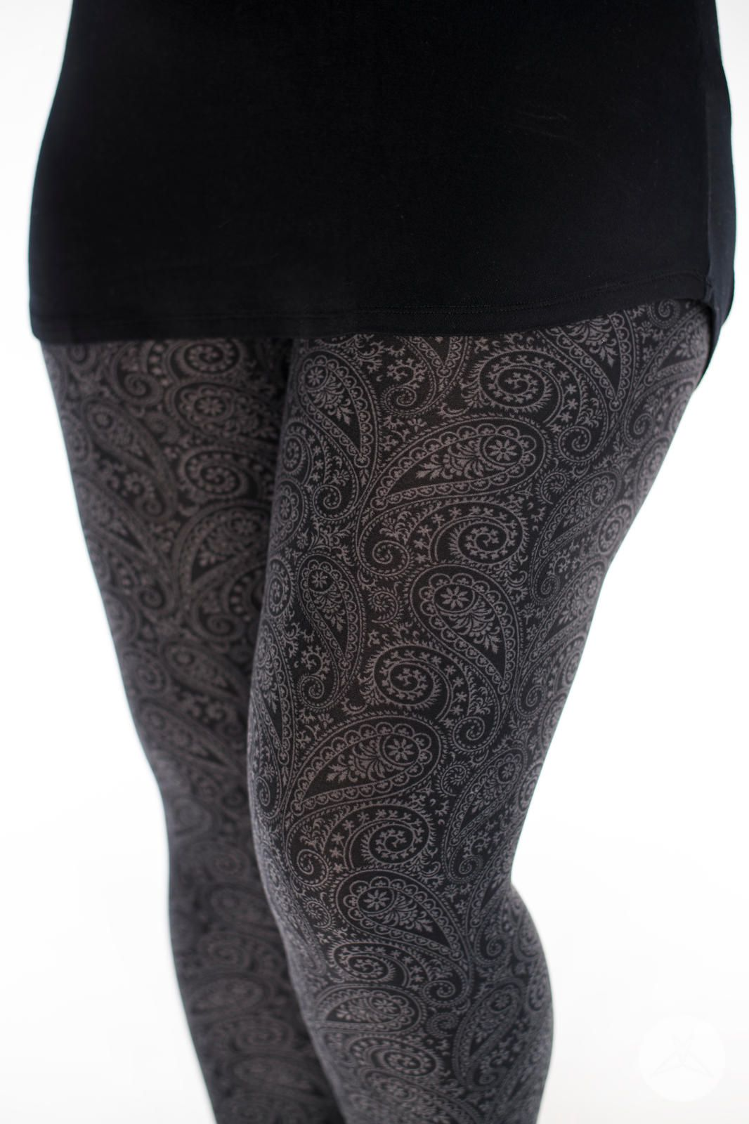 afcfcd7b1d750 Serendipity SweetLegs leggings are the perfect subdued grey and black  monochromatic paisley pattern. Pairs with almost anything in your wardrobe