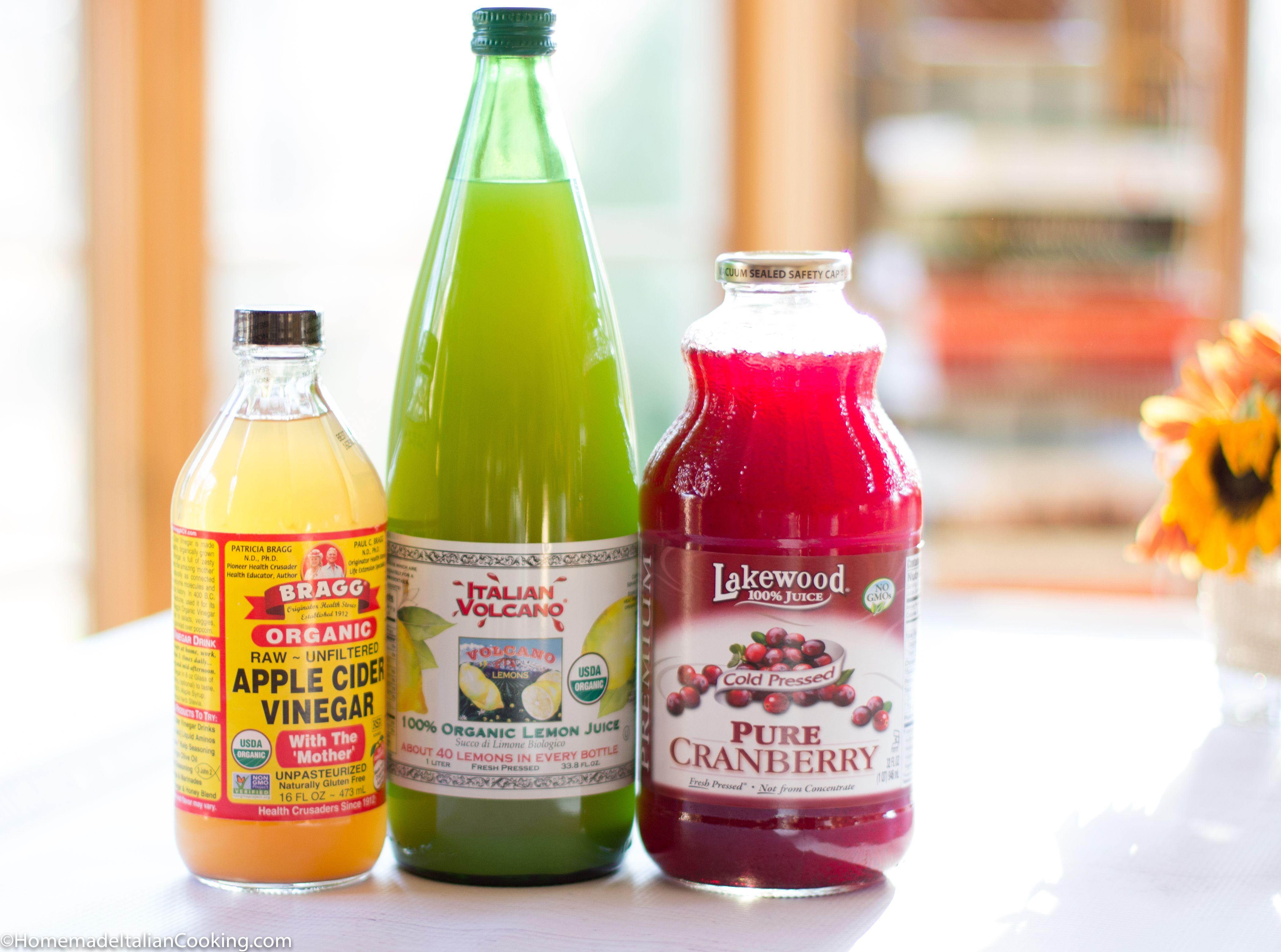 cranberry, apple cider vinegar & lemon juice drink - a