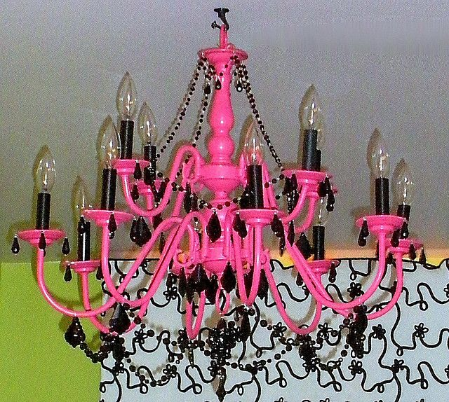 Finished Pink Chandelier Perviously Br And Boring Now Transformed Into A Whimsical Black
