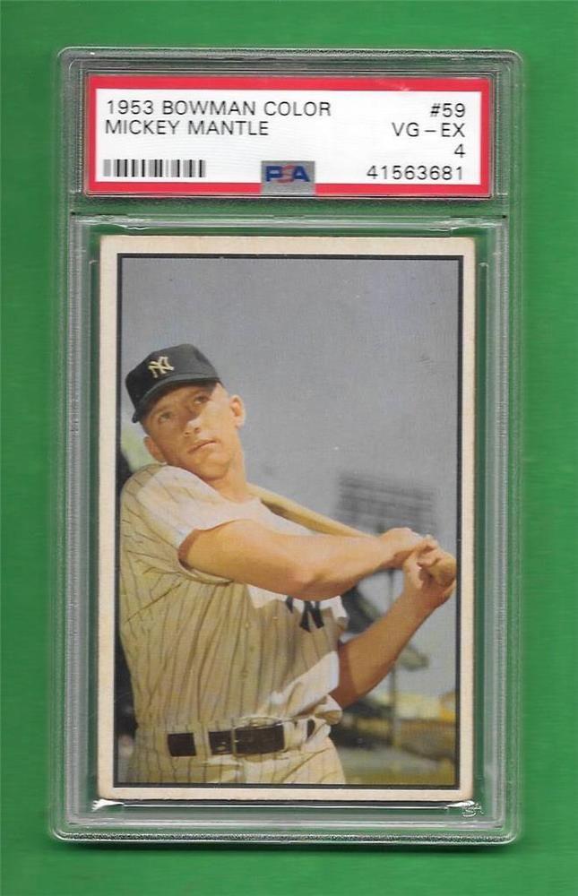 1953 Bowman Color 59 Mickey Mantle Psa Vg Ex 4 Ny Yankees