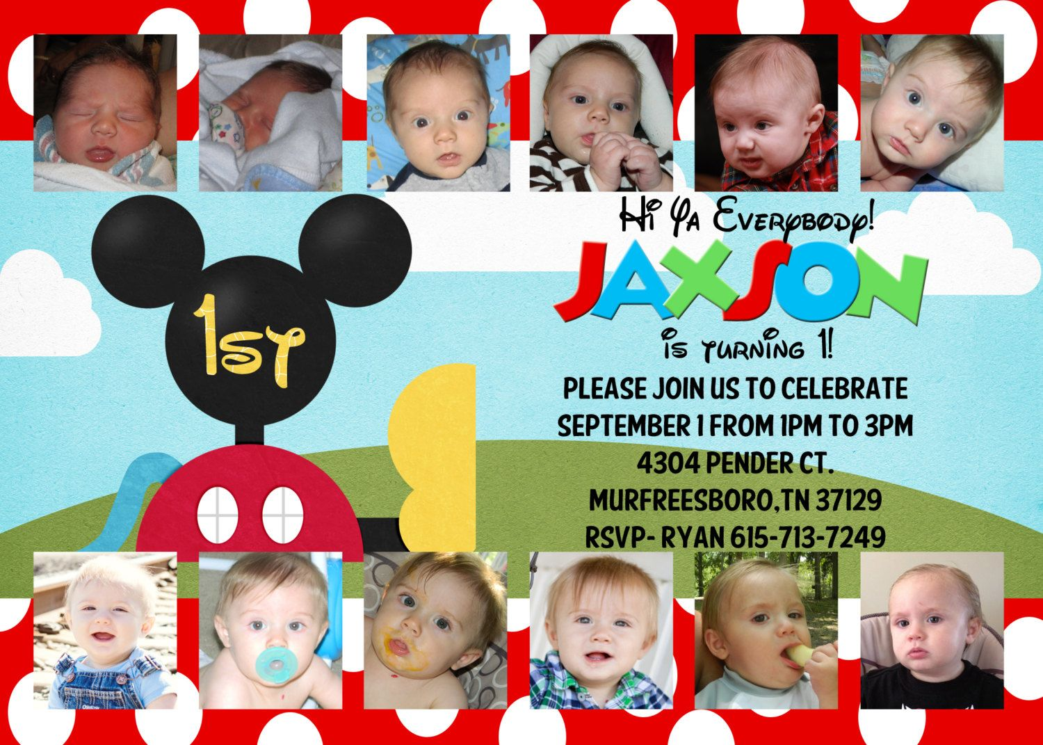 Mickey Mouse Clubhouse Customized Birthday Invitation 5x7 Collage – Mickey Mouse Clubhouse Birthday Invites