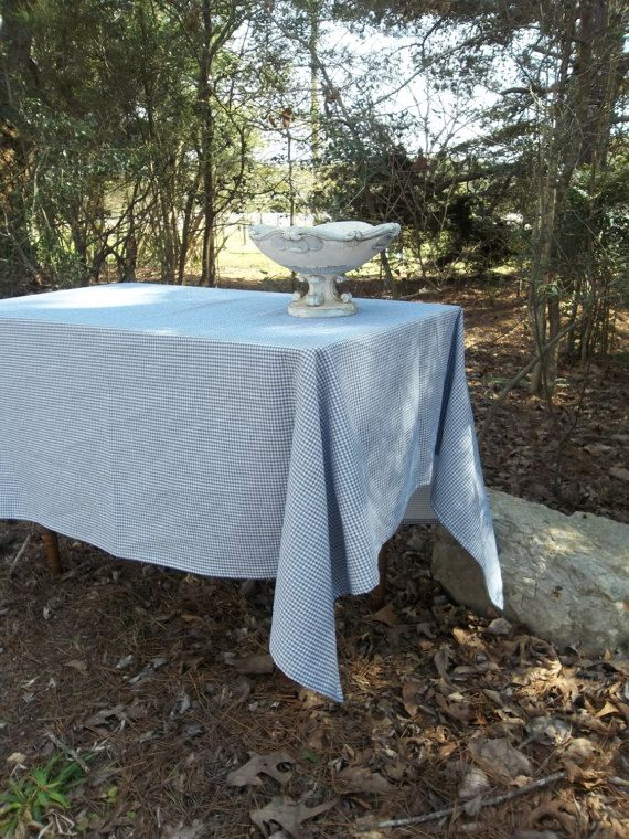 Blue White Check Tablecloth Custom Blue Check Table Cloth French Country Farmhouse Decor Available In Gray White Check Blue French Country French Country Farmhouse Country Farmhouse Decor