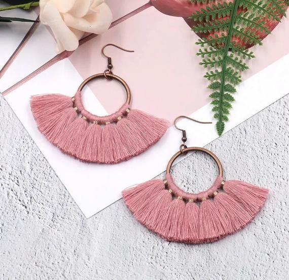 Fan Tassel Earrings, Fan Earrings, Colorful Earrings, Dangle Tassel Earrings is part of Diy macrame earrings, Crystal bridal earrings, Bohemian earrings, Fan earrings, Handmade jewelry, Colorful earrings - Luxurious Fanshaped Tassel Earrings, Bohemian Handmade Woman Jewelry