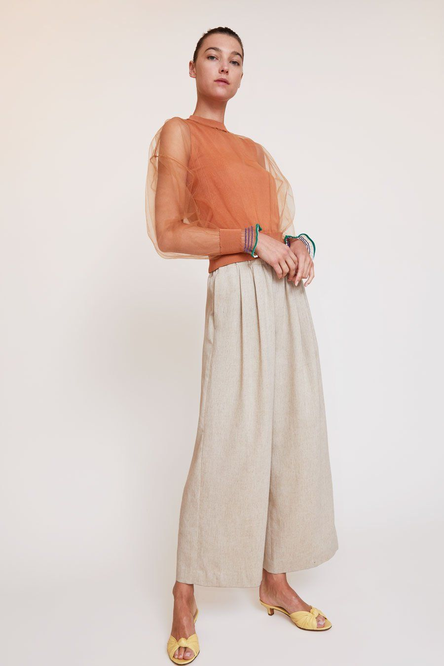 Enfold sheer layered pullover in medium beige layered