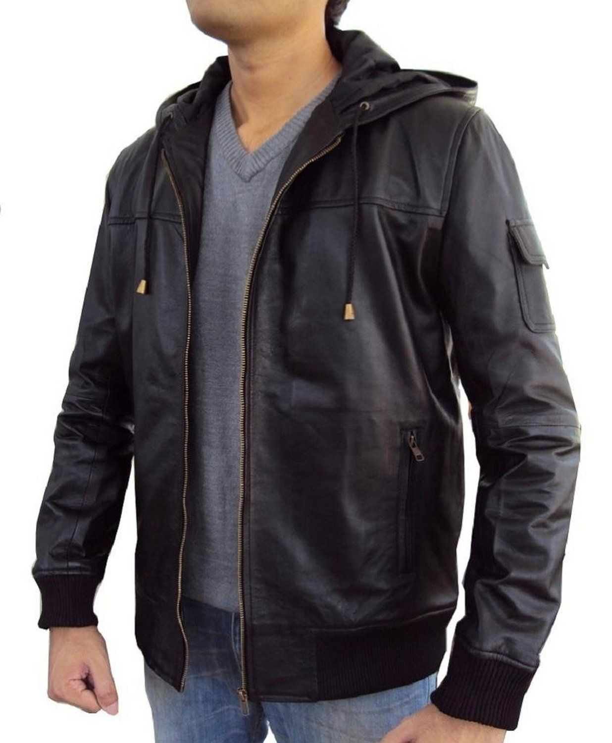 3265f90ce The Leather Factory Men's Lambskin Leather Fixed Hoodie Jacket with ...