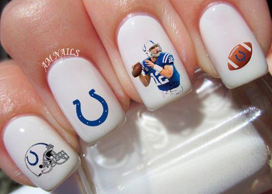 Indianapolis Colts Nail Decals in 2019   Colts nails, Nail ...