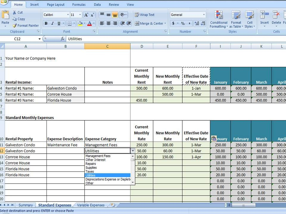 excel property management template - Physicminimalistics