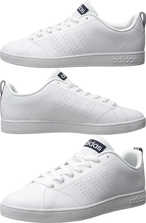 separation shoes b27ec ceee0 Adidas NEO Mens Advantage Clean VS Lifestyle Tennis  Shoe,WhiteWhiteCollegiate Navy,8.5 M US
