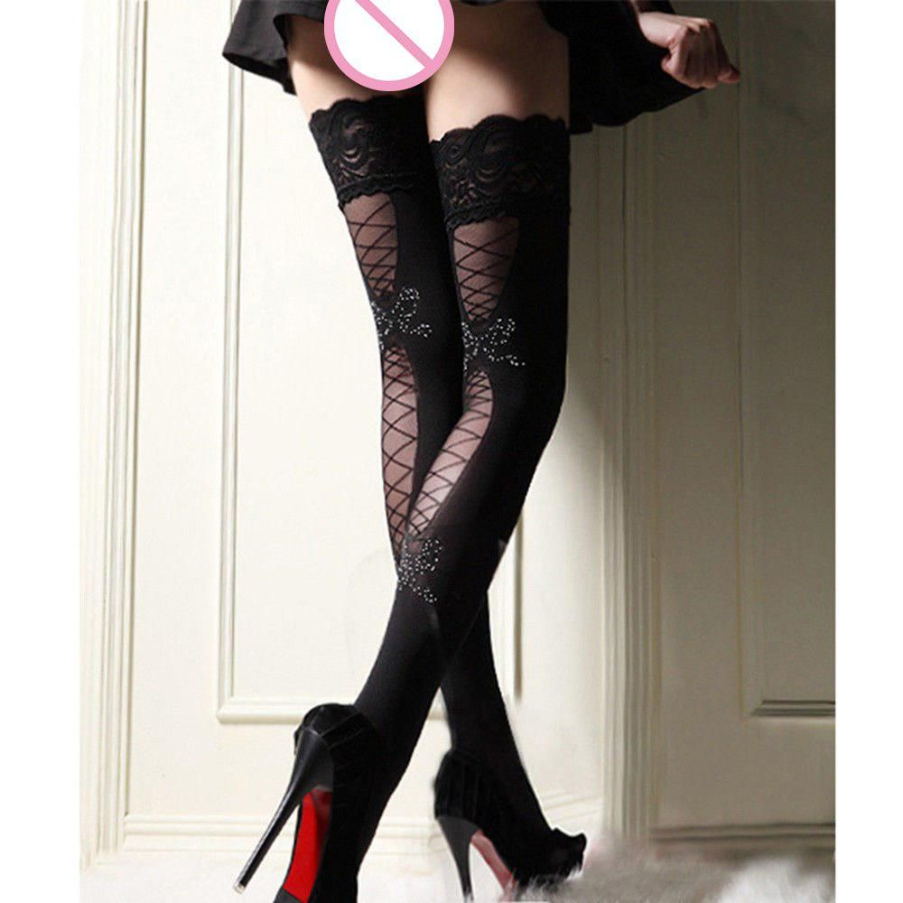 5644448be Women Sexy Stockings Thigh High Print Bow Lace Nylon Top Ultra Sheer Knee  High Stockings Lingerie. Yesterday s price  US  5.94 (5.29 EUR).