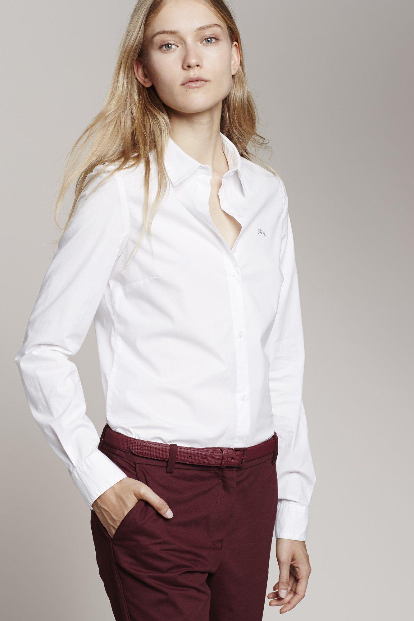 caa732c62d Lacoste Long Sleeve Stretch Cotton Poplin Shirt : Women | women ...