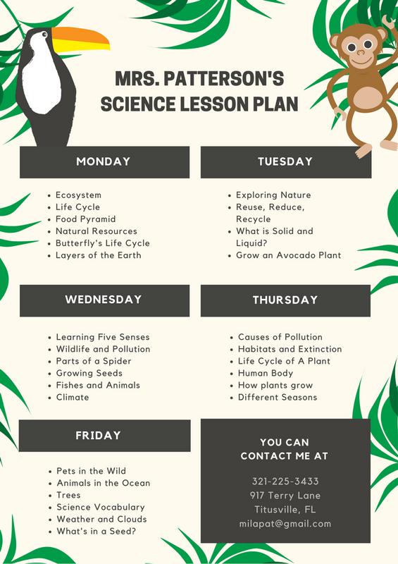 Cream Illustration Leaves Science Lesson Plan Stock