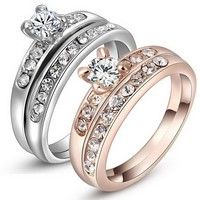 Wedding Ring Set White Gold Rose Gold 18k Plated Size 6 7 8 Crystal