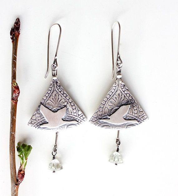 Harbinger of Spring, Geese Migration…. sterling silver prasiolite earrings