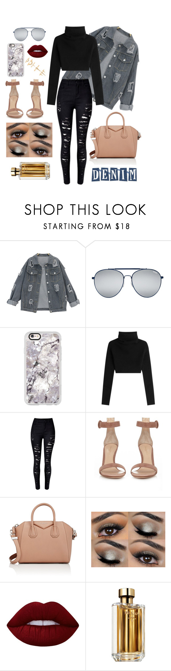 """""""Untitled #200"""" by hallloweenqueen ❤ liked on Polyvore featuring Quay, Casetify, Valentino, Gianvito Rossi, Givenchy, Lime Crime, Prada, Luv Aj, denim and denimjackets"""