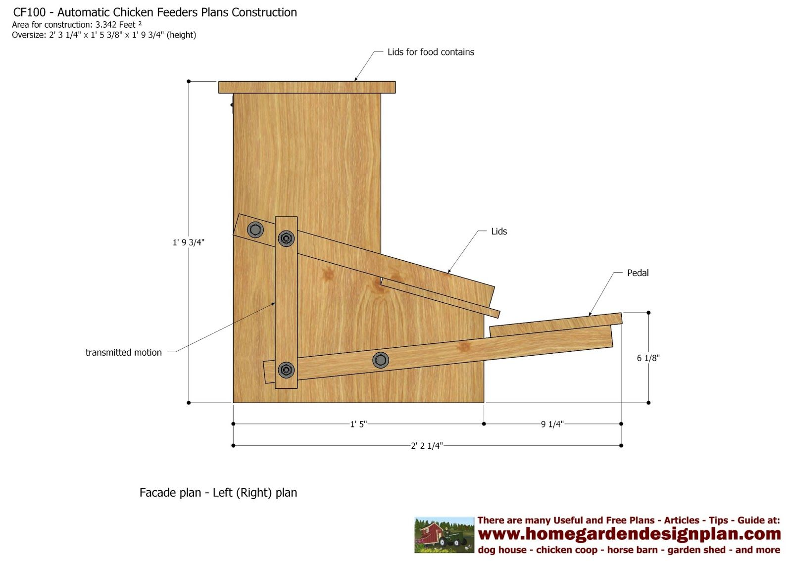 Cf100 Automatic Chicken Feeder Plans Construction How To Build A Chicken Feeders Mangeoire Poule Poulailler Nichoir