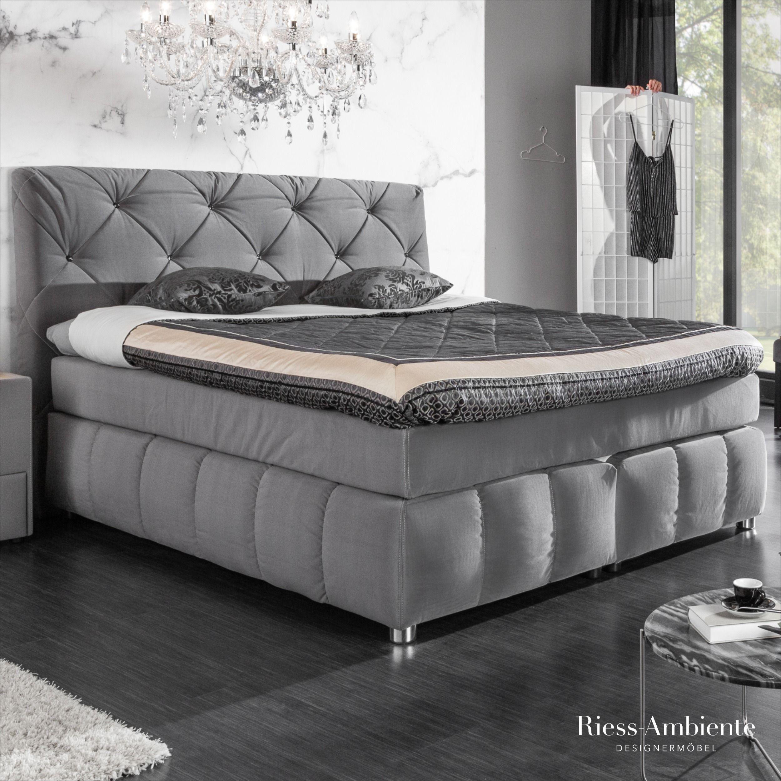Boxspringbett 180cm Grau Samt Riess Ambiente De Bett Boxspringbett Schickes Schlafzimmer