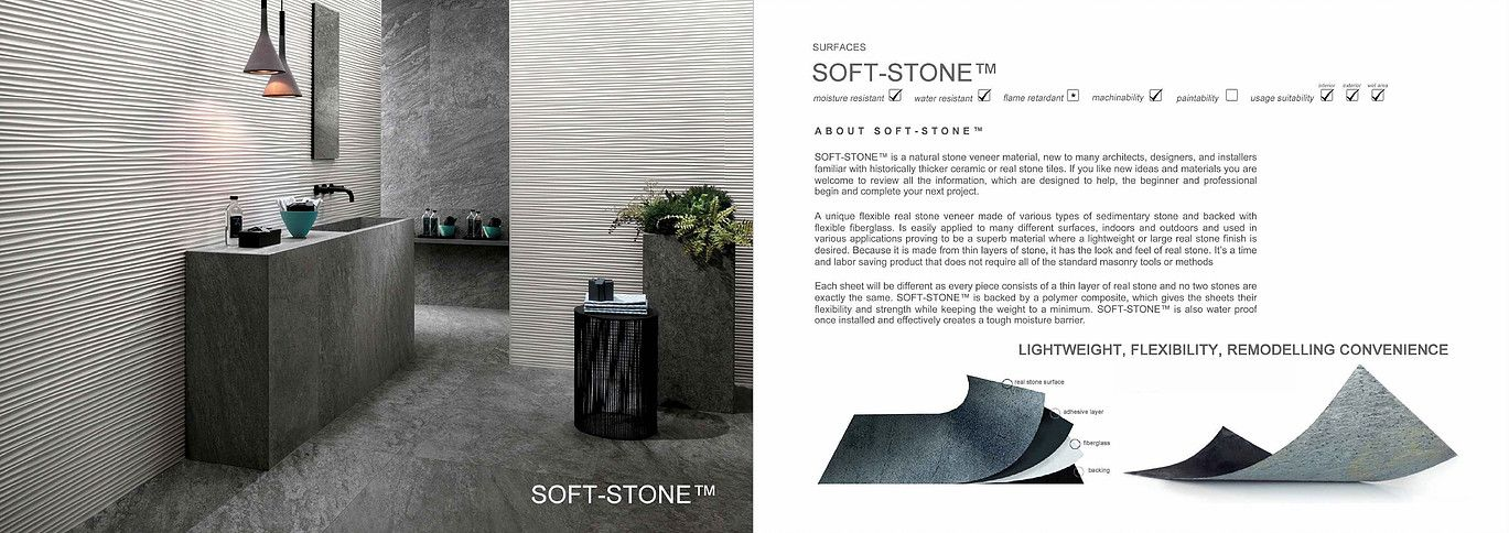 Soft Stone is a natural stone veneer material , a unique flexible real stone venner made of various types of sedimentary stone and backed with flexible backing.