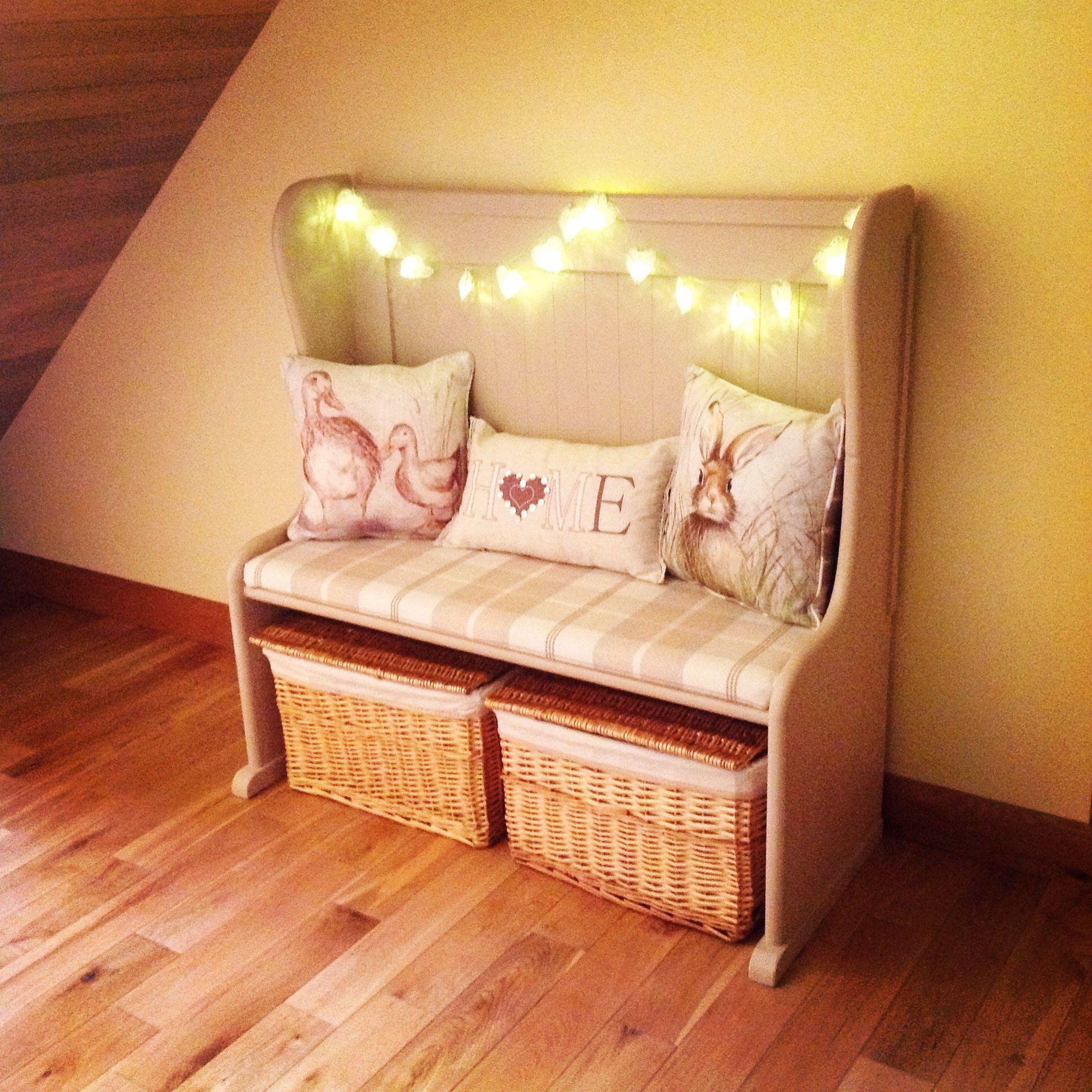 upstyled church pew irish cream chalk paint next cushions dunelm cushion wicker baskets
