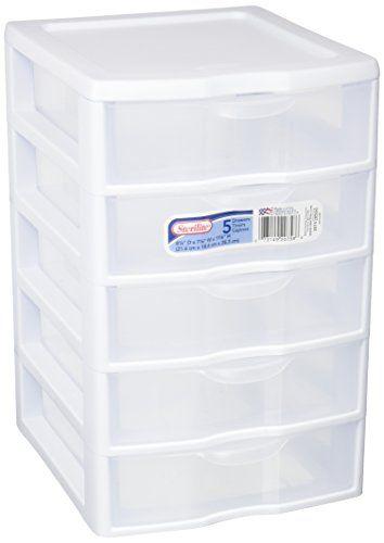 Sterilite 2075 5 Drawer Storage Unit 8 1 2 X 7 1 4 X 11 Drawer Storage Unit 5 Drawer Storage Desktop Storage