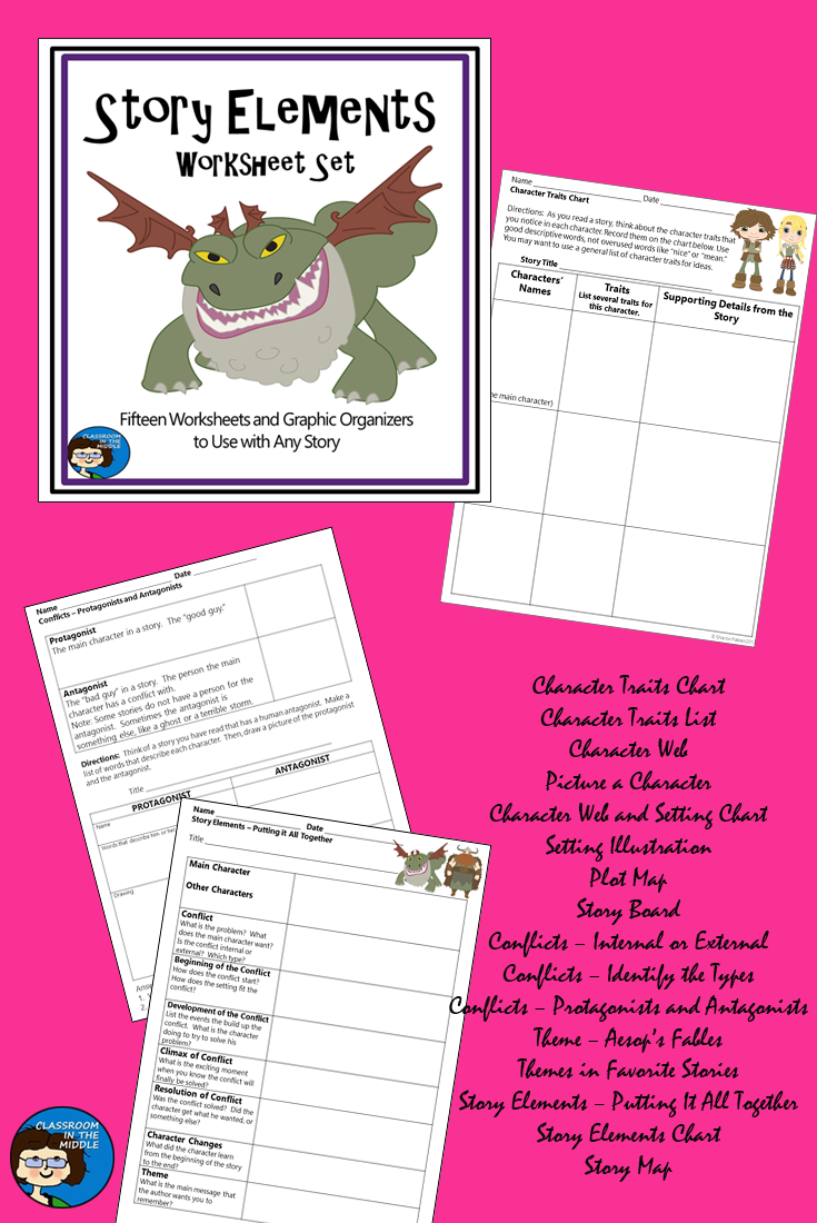 Worksheets Identifying Story Elements Worksheet story elements worksheet set reading fiction pinterest this is a collection of 15 well designed printable activity sheets