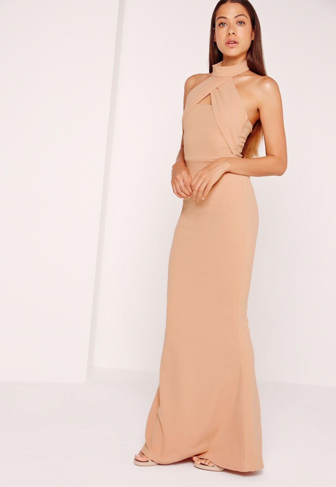 Missguided - Wrap Halter Maxi Dress Nude