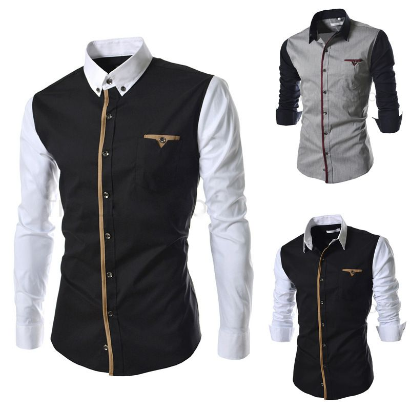 New 2014 Mens Designer Clothes Casual Social Patchwork