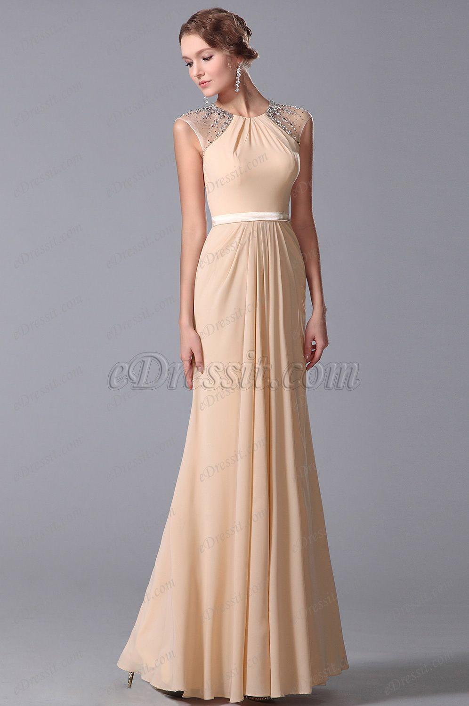 Elegant beaded cap sleeves floor length evening dress formal gown