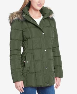 a01ab524c Tommy Hilfiger Petite Faux-Fur-Trim Box-Quilted Coat - Green P/XXL ...