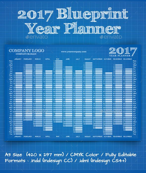 2018 blueprint year wall planner calendar planners fonts and walls 2017 blueprint year wall planner calendar malvernweather Image collections