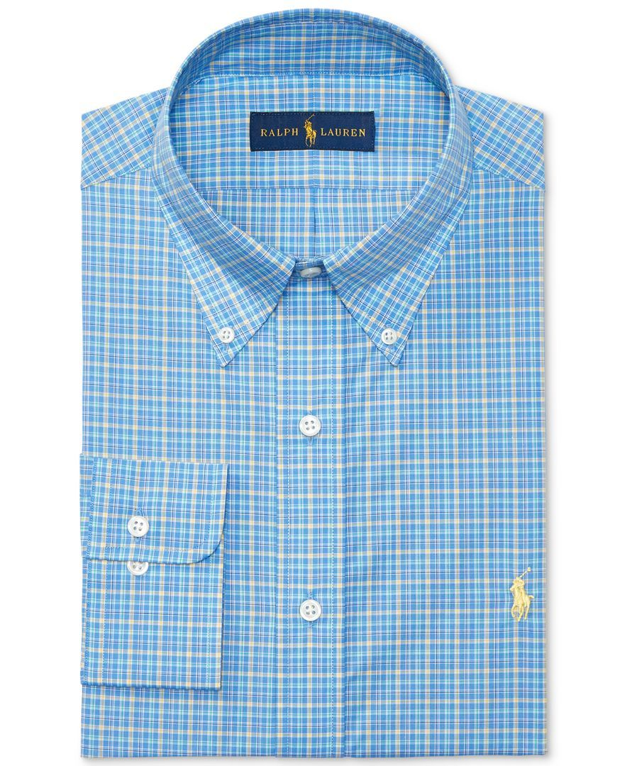 Polo Ralph Lauren Men's Classic/Regular Fit Plaid Poplin Dress Shirt