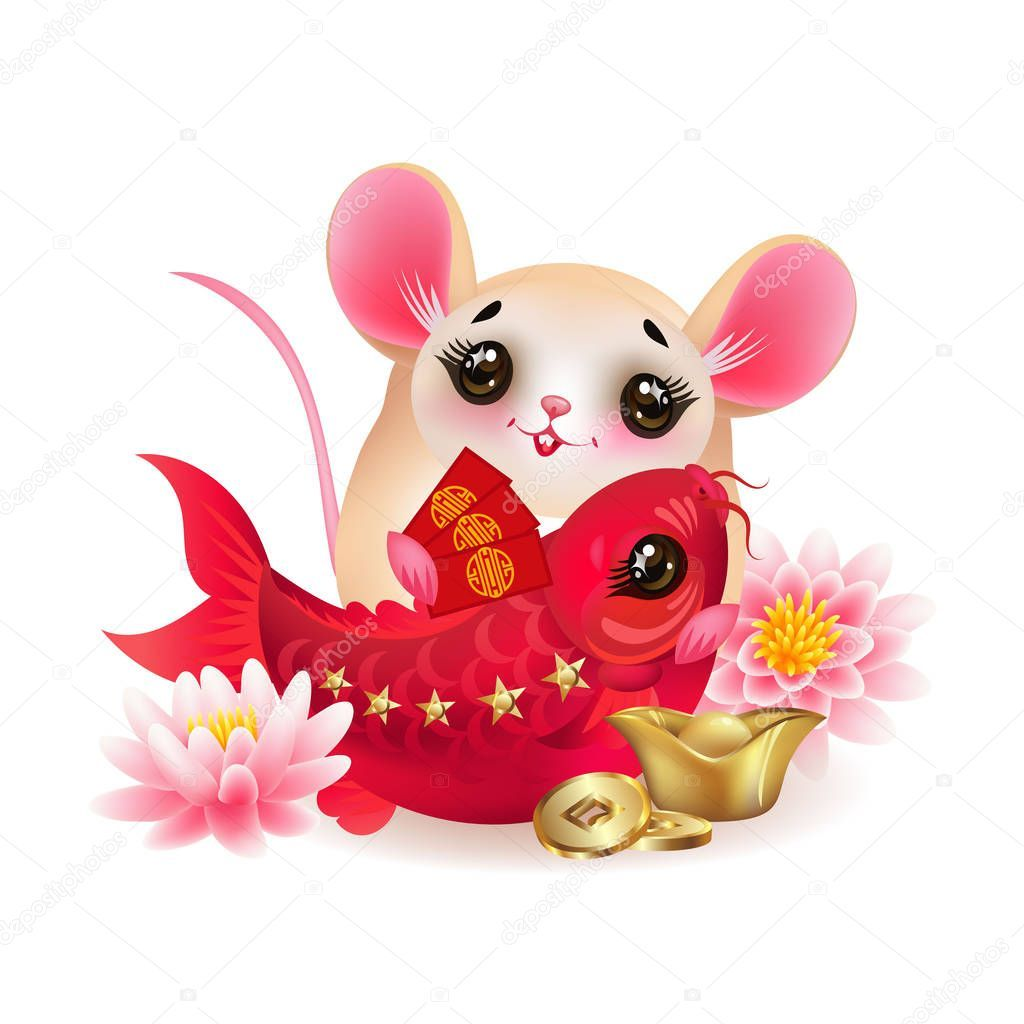 Mouse symbol of Chinese lunar new year 2020 and red fish