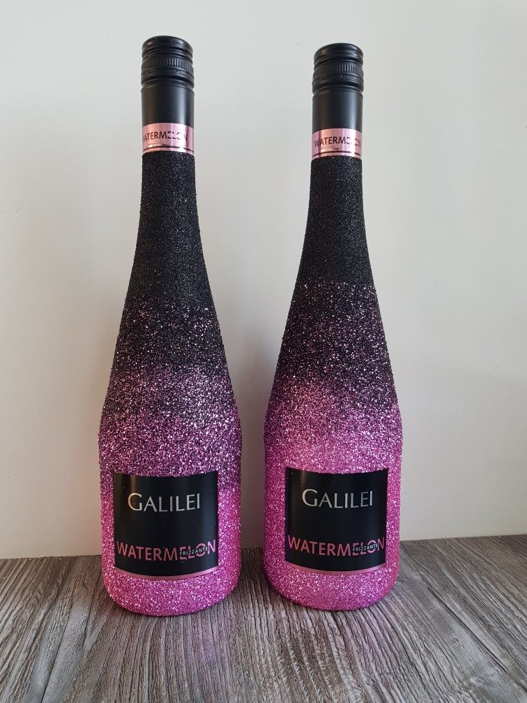 Galilei watermelon glitter bottle ombre black pink